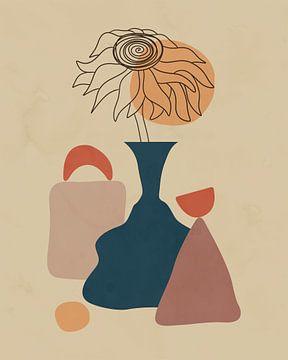 Minimalistisch stilleven van een bloem in een vaas van Tanja Udelhofen