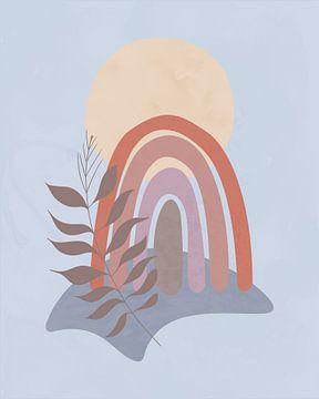 Abstract minimalistisch landschap met een regenboog van Tanja Udelhofen
