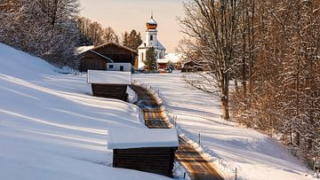 Winter in Wamberg, Bayern, Süddeutschland