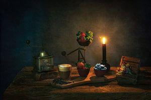Stilleven met kaarslicht ,stijl Caravaggio . van Saskia Dingemans