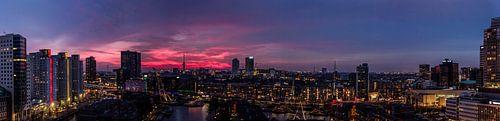 Panorama Rotterdam zonsondergang van