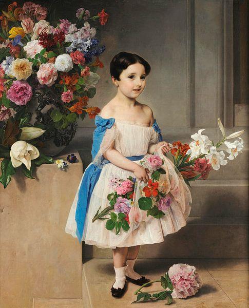 Porträt der Gräfin Antonietta Negroni Prati Morosini als Kind, Francesco Hayez von Meesterlijcke Meesters