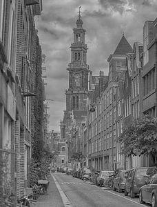Panoramisch zicht op de Westertoren Amsterdam