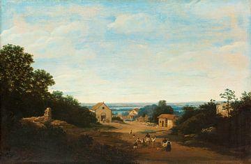 Brasilianische Landschaft mit dem Dorf Igaraçú, Frans Jansz Post