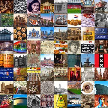 Alles aus Amsterdam - Collage aus typischen Bildern der Stadt und der Geschichte von Roger VDB