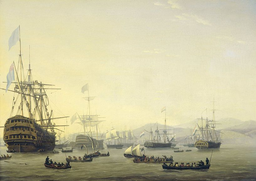 Council of War on board the 'Queen Charlotte', commanded by Lord Exmouth, Nicolaas Baurz von Meesterlijcke Meesters