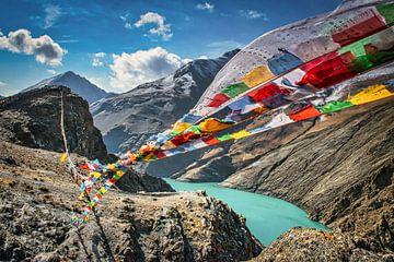 De gebedsvlaggetjes wapperen in de bergen, Tibet van Rietje Bulthuis