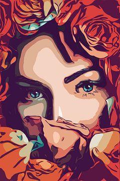 Blumenmädchen mit schönen blauen Augen im Pop-Art-Stil von Maureen Kroep