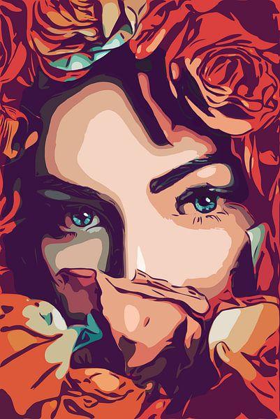 Bloemen meisje met prachtige blauwe ogen in popart atyle van The Art Kroep