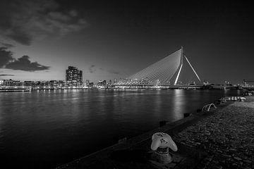 The skyline van Rotterdam met de Erasmusbrug (zwart-wit) bij zonsondergang van noeky1980 photography