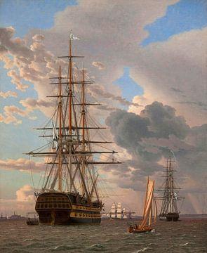 """Het Russische schip van de lijn """" Asow"""", Christoffer Wilhelm Eckersberg"""