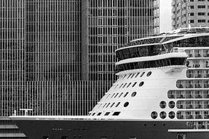 Cruiseschip voor de Rotterdam in Rotterdam