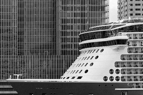 Cruiseschip voor de Rotterdam in Rotterdam van