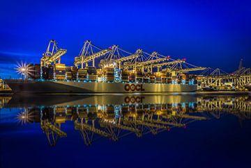 Maasvlakte Rotterdam in de avond. van Mario Calma