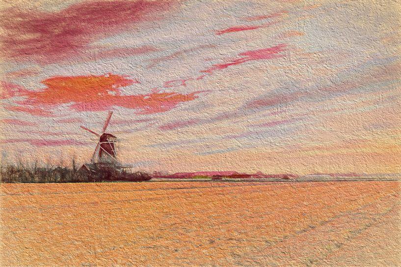 Noord Hollands landschap met molen  van eric van der eijk