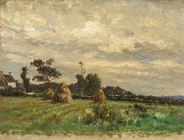 Carlos de Haes-Landschaft von Heuhaufen auf Ackerland, antike Landschaft