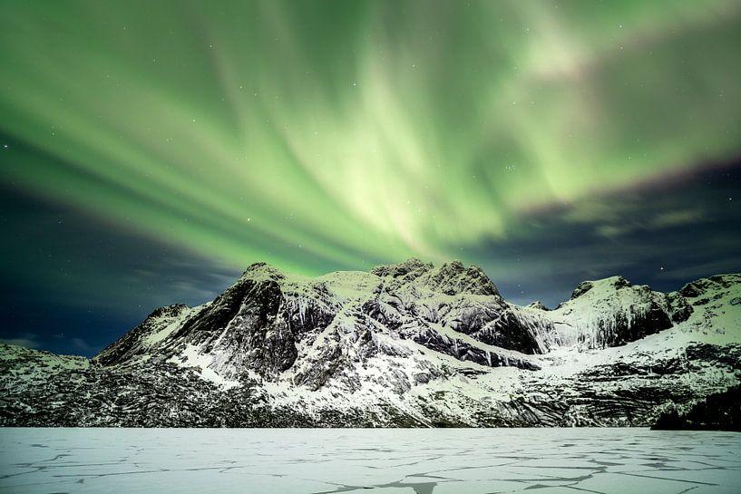 Northern lights above Nusfjord van Ab Wubben