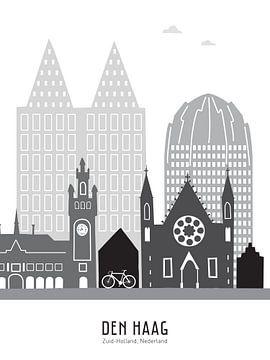 Skyline illustratie stad Den Haag zwart-wit-grijs van Mevrouw Emmer