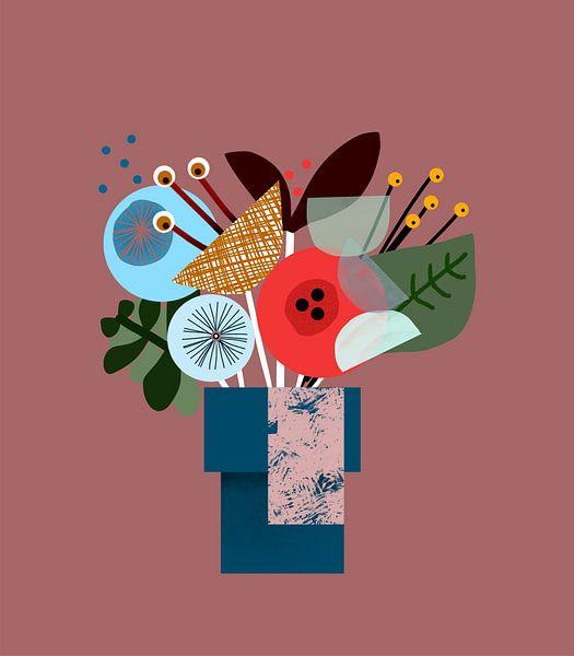 Een kleurrijk grafisch bosje bloemen van Charlotte Hortensius