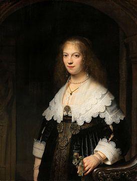 Portret van een vrouw, mogelijk Maria Trip, Rembrandt sur