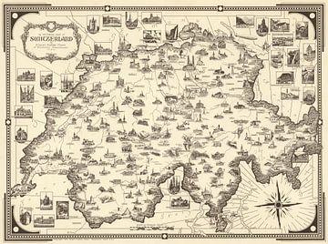 Zwitserland als Picturale kaart van
