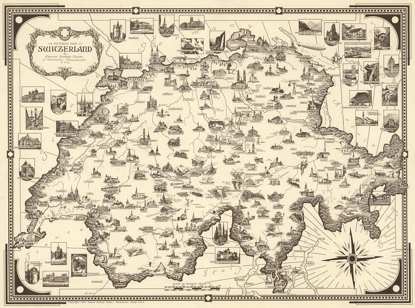 Zwitserland als Picturale kaart van World Maps