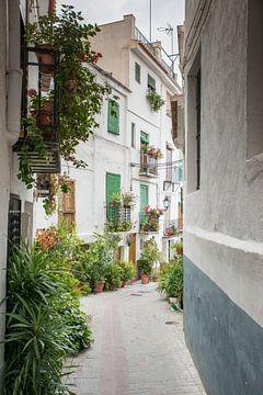 straatje met typische huizen in een dorp in spanje van Compuinfoto .