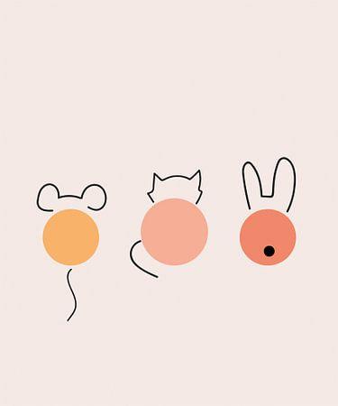 Baby- of kinderkamerposter met muis, poes en konijn.
