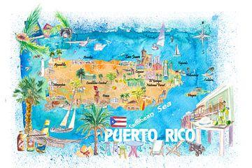 Puerto Rico Inseln Illustrierte Reisekarte mit Straßen und Highlights von Markus Bleichner