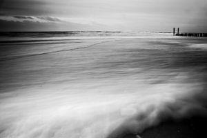 Long exposure shot op het strand van Vlissingen