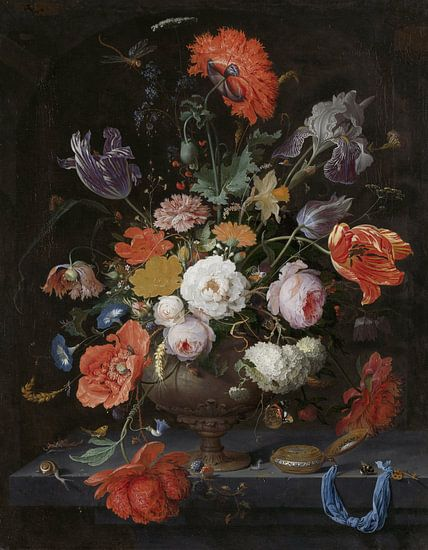 Stilleven met bloemen en een horloge van Hollandse Meesters