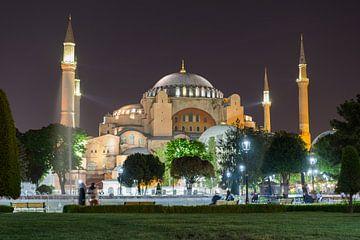 Hagia Sophia bij nacht, Istanboel van Niels Maljaars