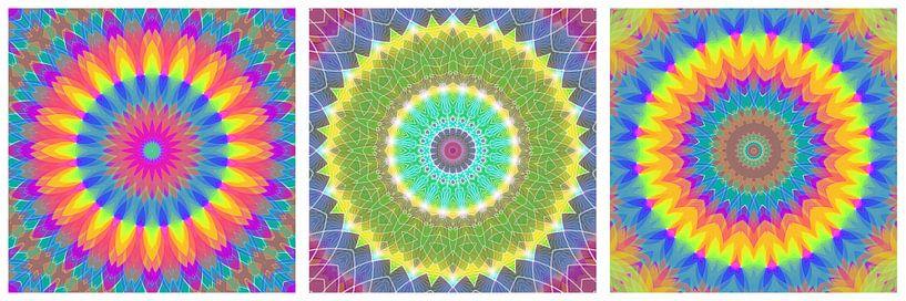 Regenboog Mandalas 3 van Marion Tenbergen
