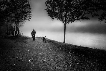 Schwarz Weiss - Nebel am Inn