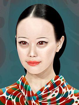 Blasses japanisches Mädchen im Kimono von