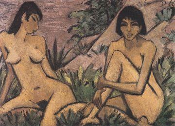 Zwei in Dünen sitzende Mädchen, Otto Mueller - ca 1926 von Atelier Liesjes