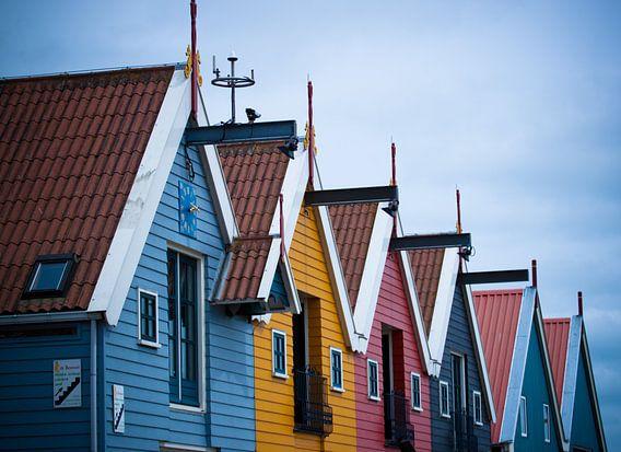 Gekleurde huizen in Zoutkamp Groningen van Naresh Bhageloe