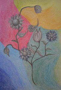 Bleistiftzeichnung mit schwarz-weißen Blumen auf einem abstrakten farbigen Hintergrund