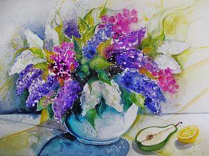 Vase mit Flieder van Dorothy Maurus