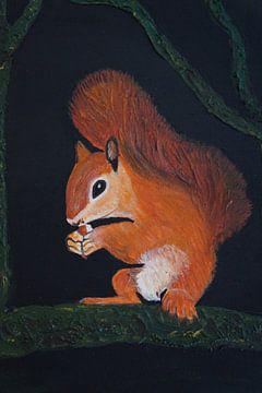 Eichhörnchen beim Nuss knacken van Babetts Bildergalerie
