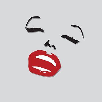 Marilyn monroe tekening zwart wit met rode lippen van sarp demirel