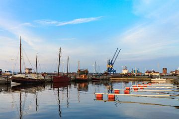 View to the city port of Rostock van