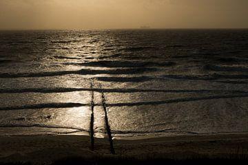 Tegenlicht op de Noordzee, Vlissingen, Walcheren, Zeeland van Mario Lere