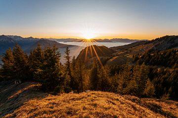 Zonsondergang over de Allgäuer Alpen van Leo Schindzielorz