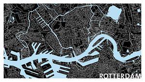 Rotterdam | Stadskaart | Panorama in Zwart en Blauw met een Witte kader van