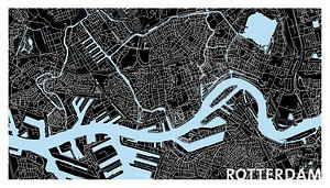Rotterdam Plattegrond - Panorama Zwart met Tekst - witte kader