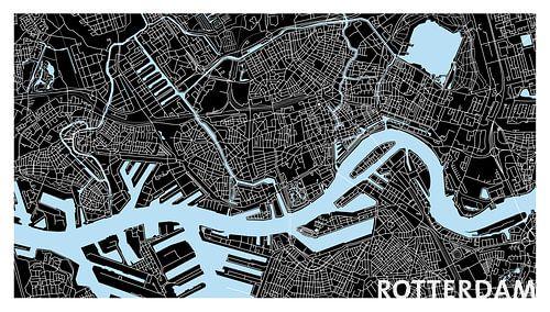 Rotterdam Plattegrond - Panorama Zwart en Tekst