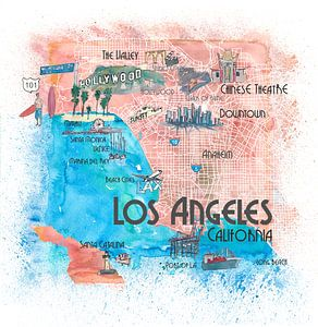 Illustrierte Reisekarte von Los Angeles Kalifornien mit Hauptstraßen, Sehenswürdigkeiten und Höhepun