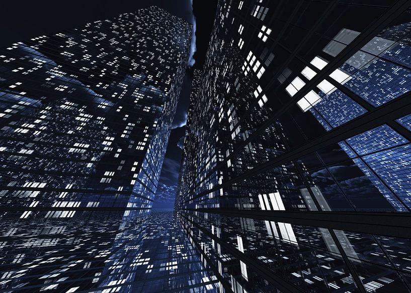 futuristische architectuurstad Q-City 8 van Max Steinwald