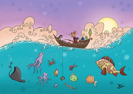 Vissen op de oceaan  van Jesse Boom